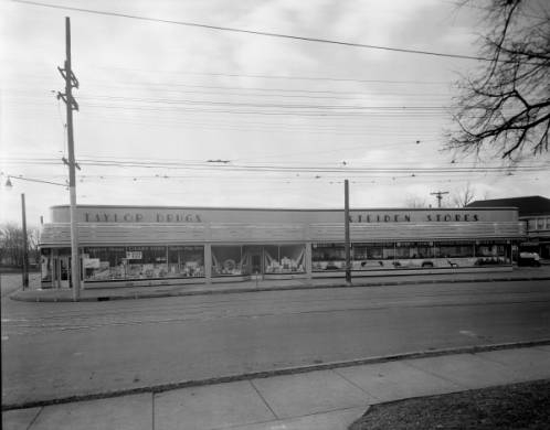 Taylor Drugs and Steiden Store in the Douglass Loop - 1936