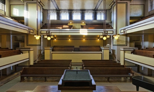 Unity Temple (1908) Oak Park, Illinois. In April 2009, Unity Temple was added to the National Trust for Historic Preservation's 11 most endangered historic places.