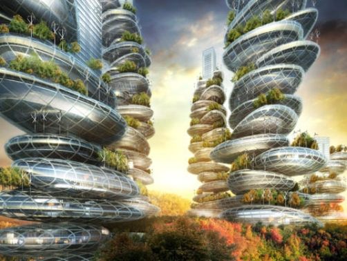 Asian Cairns, China by Vincent Callebaut is a vertical green city is it's own ecosystem designed to be self-sustainable.