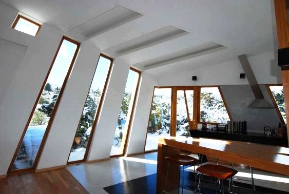 Unique window design in Ribbon House by G2 Estudio, Patagonia, Argentina