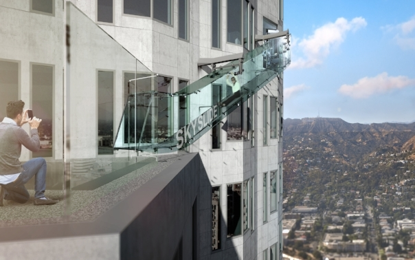 SkySpace was a recently added interactive feature on the U.S. Bank building in downtown, Los Angeles, CA