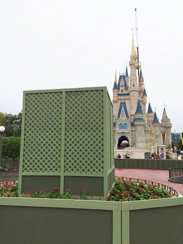 """Go Away Green"" painted on a structure at Disney"