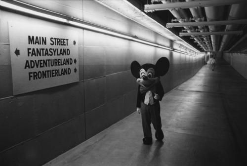 Mickey travels through underground tunnels below the Magic Kingdom