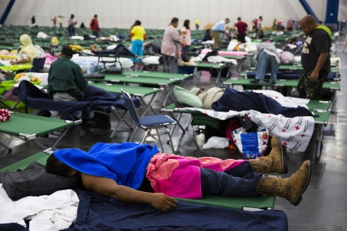 Emergency shelter set up as Hurricane Harvey hit in Texas