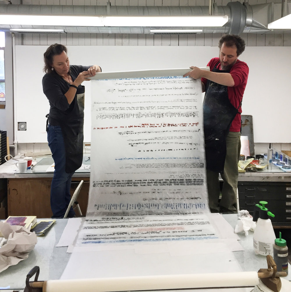 Christine Aaron printing memories on 10 foot long scrolls with master printer  Christopher Shore  from the    Center for Contemporary Printmaking .