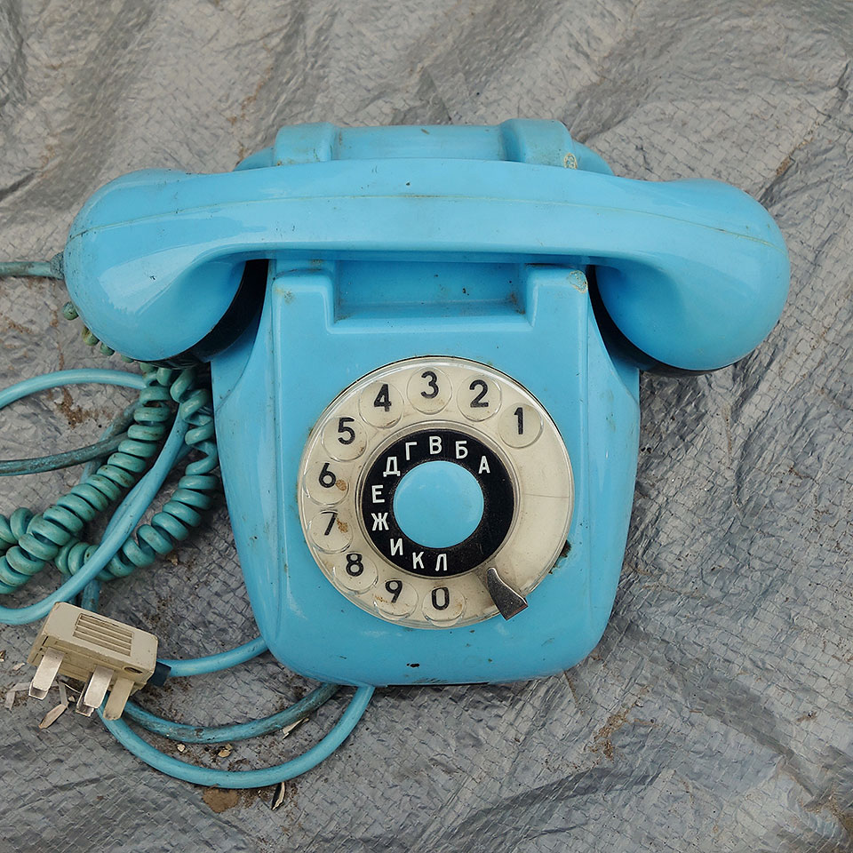 Obsolete rotary telephone, in a lovely shade of light blue, at a flea market in Kiev, Ukraine (which accompanied me home in the bottom of my bag)