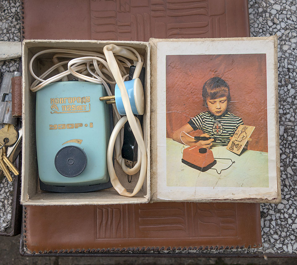 A wood burning machine for kids (that sounds safe) in its original box at a flea market in Vilnius, Lithuania