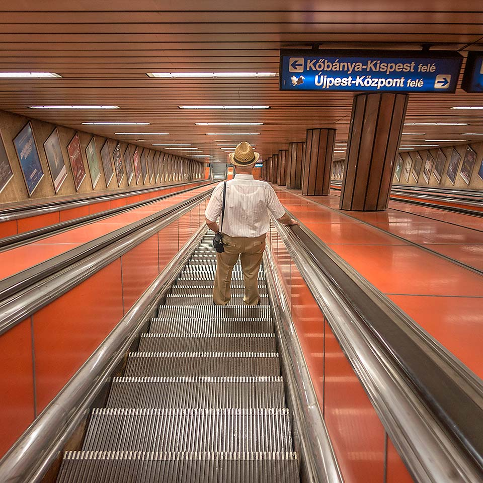 Escalatoring into Kálvin Tér station, one of the first six stations that launched Budapest's Metro 3 line on December 31, 1976.