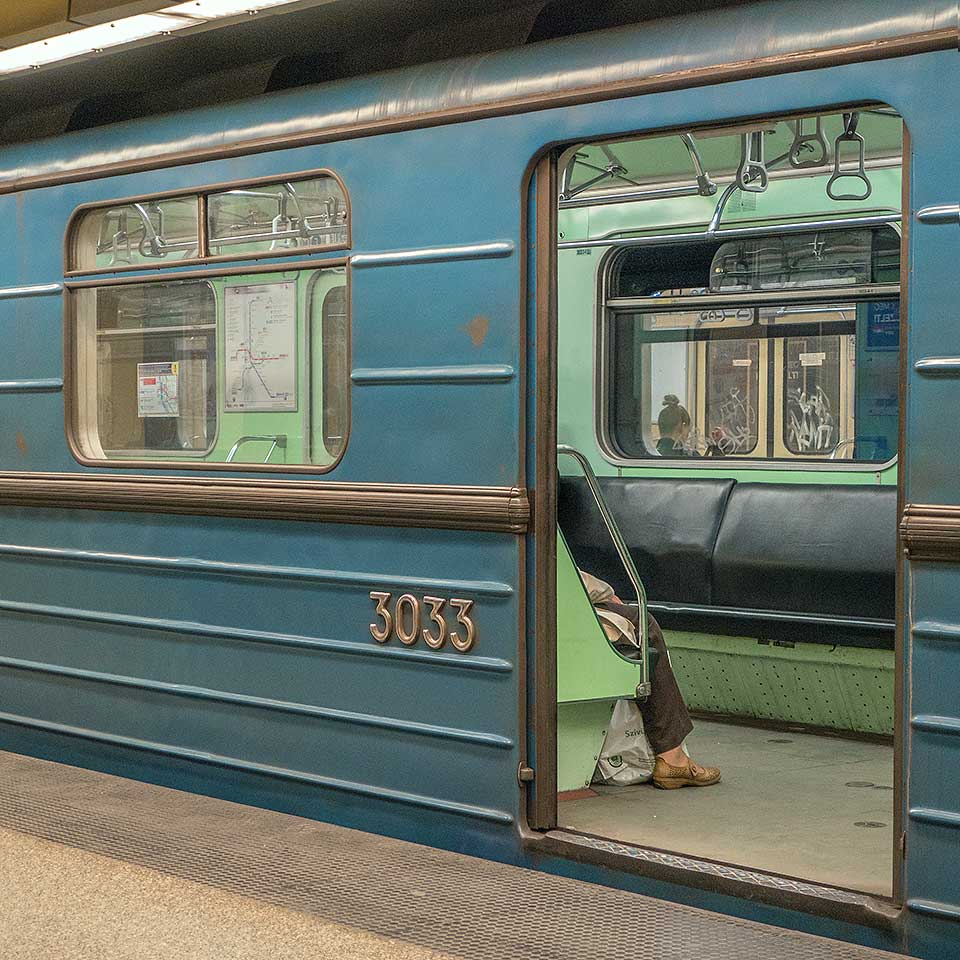 Original commie-chic Metrovagonmash 81-717/714 carriages, designed in the mid-70s for rapid transit systems of the Soviet Union, are still in service on Budapest's Metro 3 line.