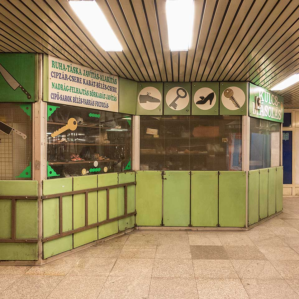 Where to get your shoes repaired / knives sharpened / keys cut in Budapest's Nagyvárad tér Metro Station.