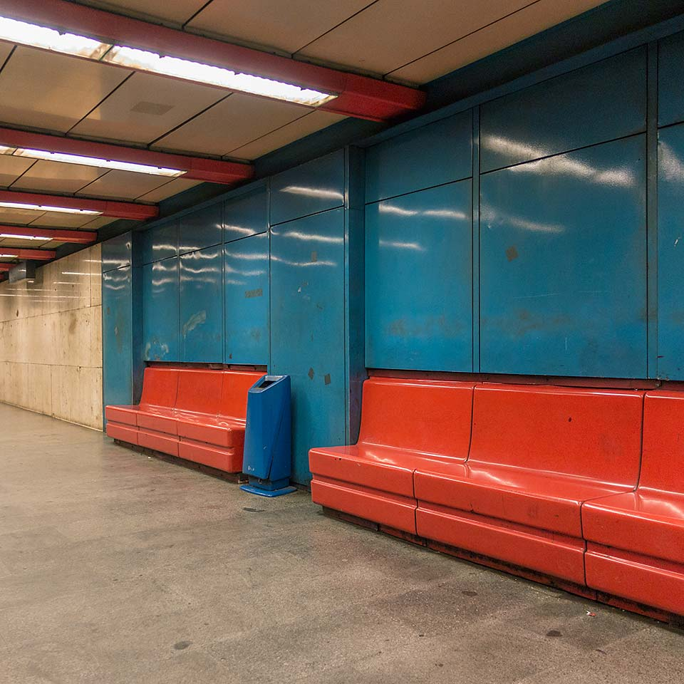 Budapest's Nyugati pályaudvar Metro 3 station opened in 1981 and until the communists were ousted in 1990 was named Marx tér (Marx Square). Nothing says class struggle quite like shiny colors.