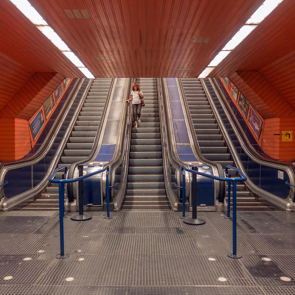 Budapest Metro's very orange Ferenciek tere station, opened in 1976, was named Felszabadulás tér (Liberation Square) until 1990.