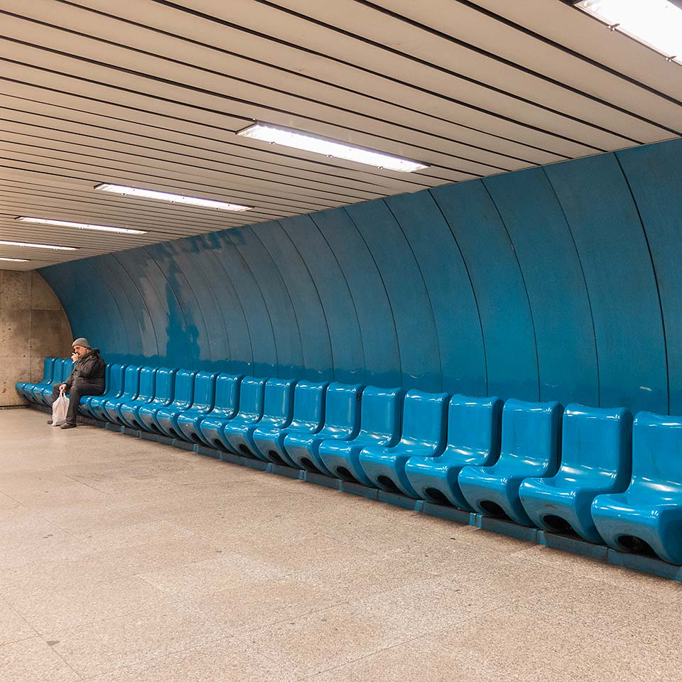 Awaiting the next train on the platform at Kálvin tér station, one of six stations that opened the Budapest Metro 3 line on December 31, 1976.