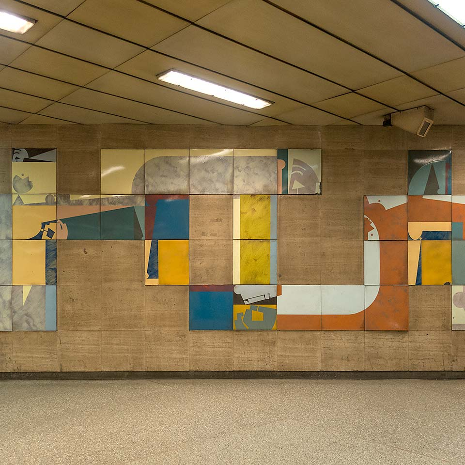 Modular artwork to brighten your commute at Újpest–Központ station, the northern terminus of Budapest's Metro 3 line which opened in late 1990.