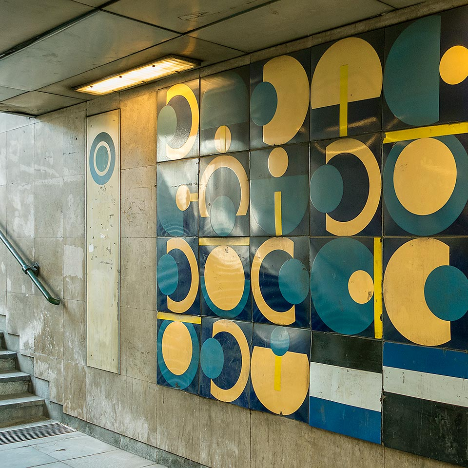 Gyöngyösi utca station, opened in 1990 on Budapest's Metro 3 line, features artwork eerily reminiscent of my 1980s design school color and form studies.