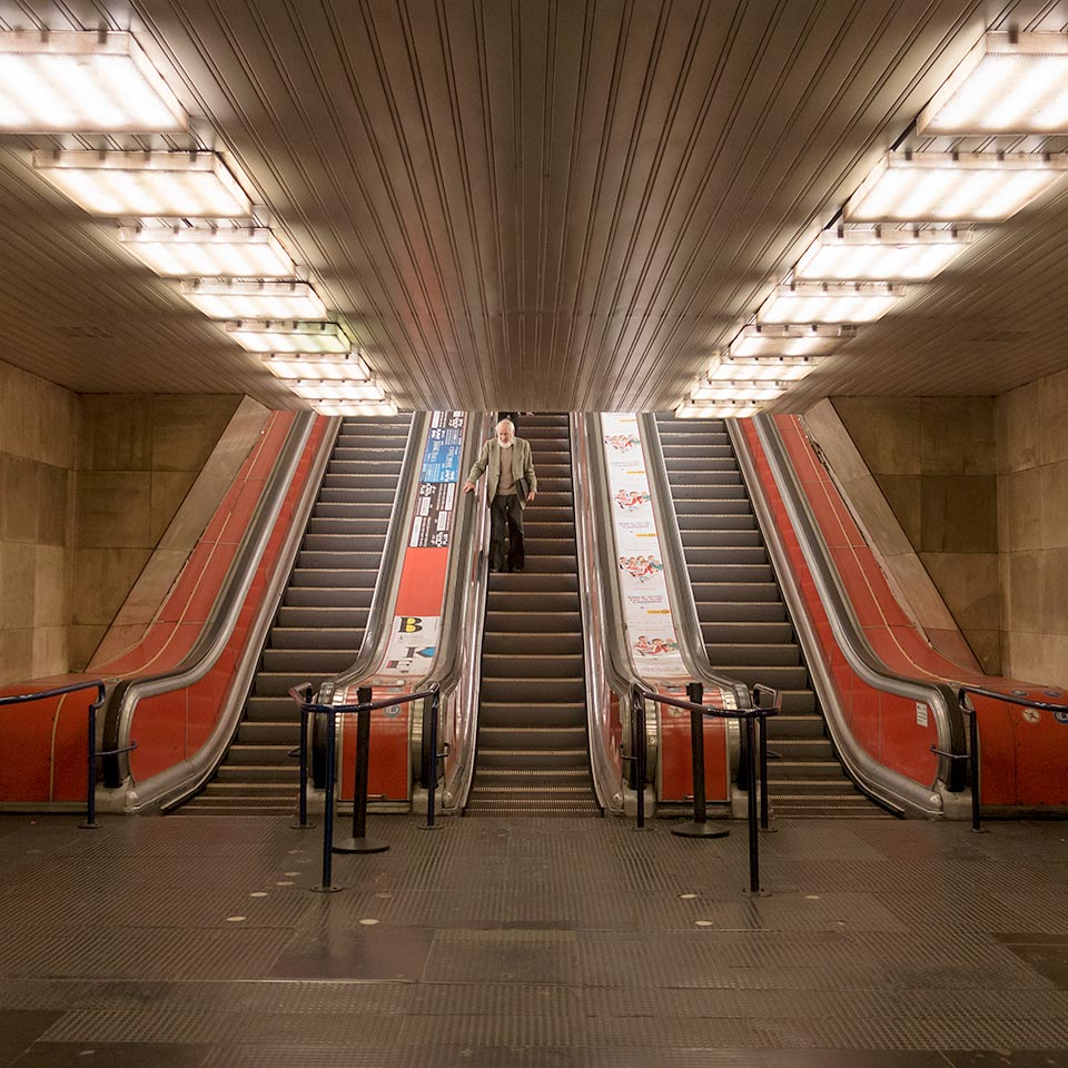 Escalator to/from the Metro 3 platform at Deák Ferenc tér, the northern terminus for the first segment of the M3 line completed in 1976.