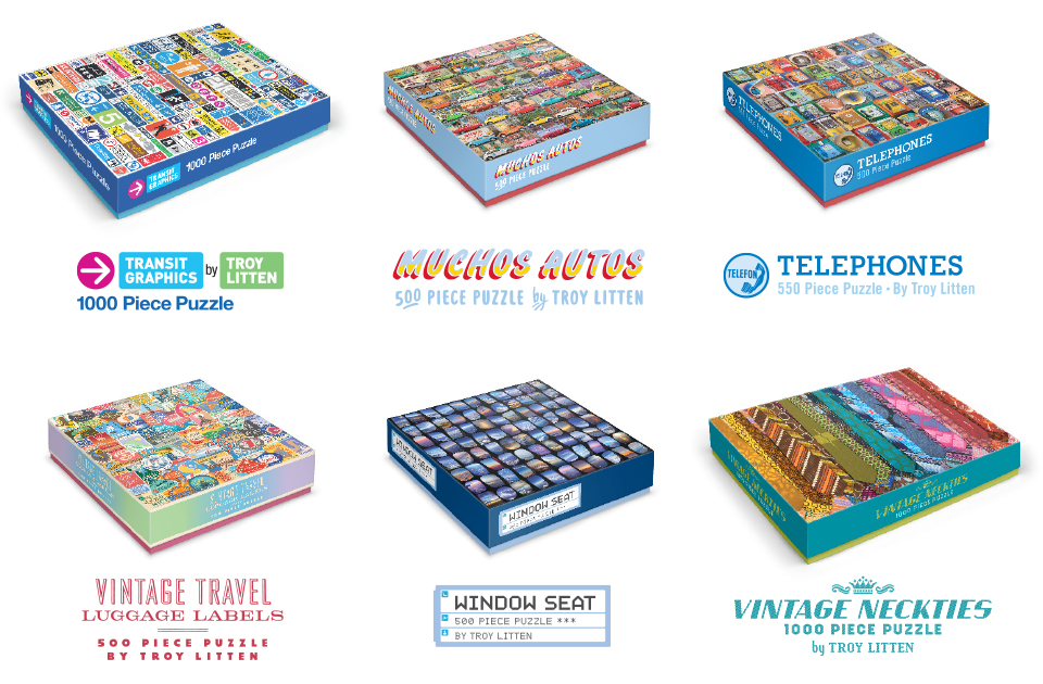 Packaging designs for a series of jigsaw puzzles featuring my photography and illustration published by Galison in New York.