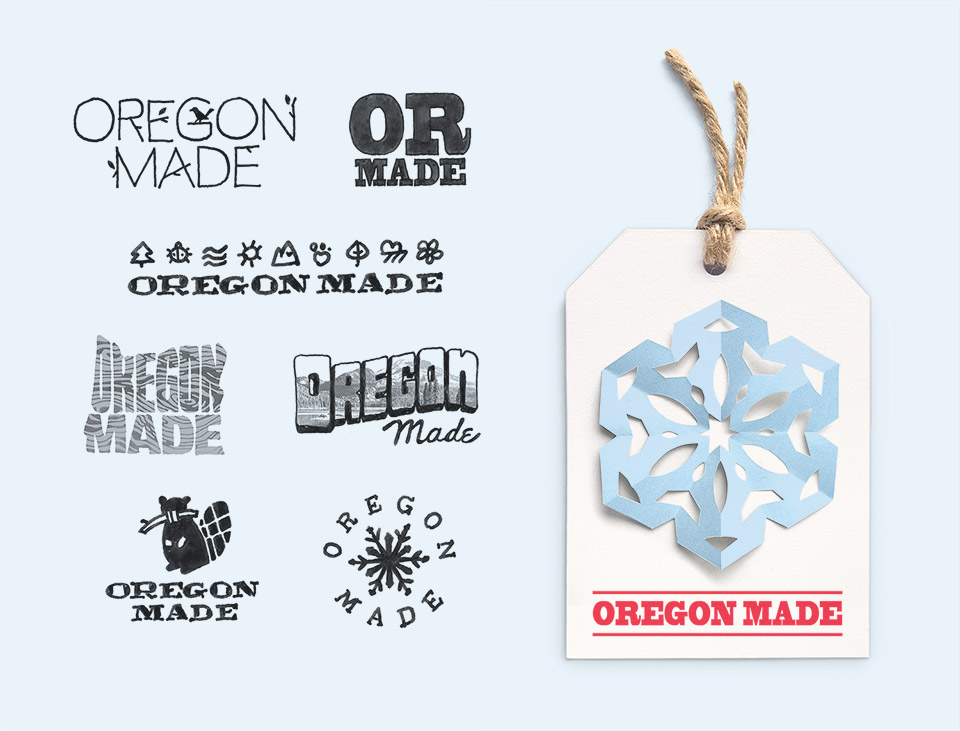 Logo branding exploration for a holiday collection of products crafted in the state of Oregon for the retailer Rejuvenation.