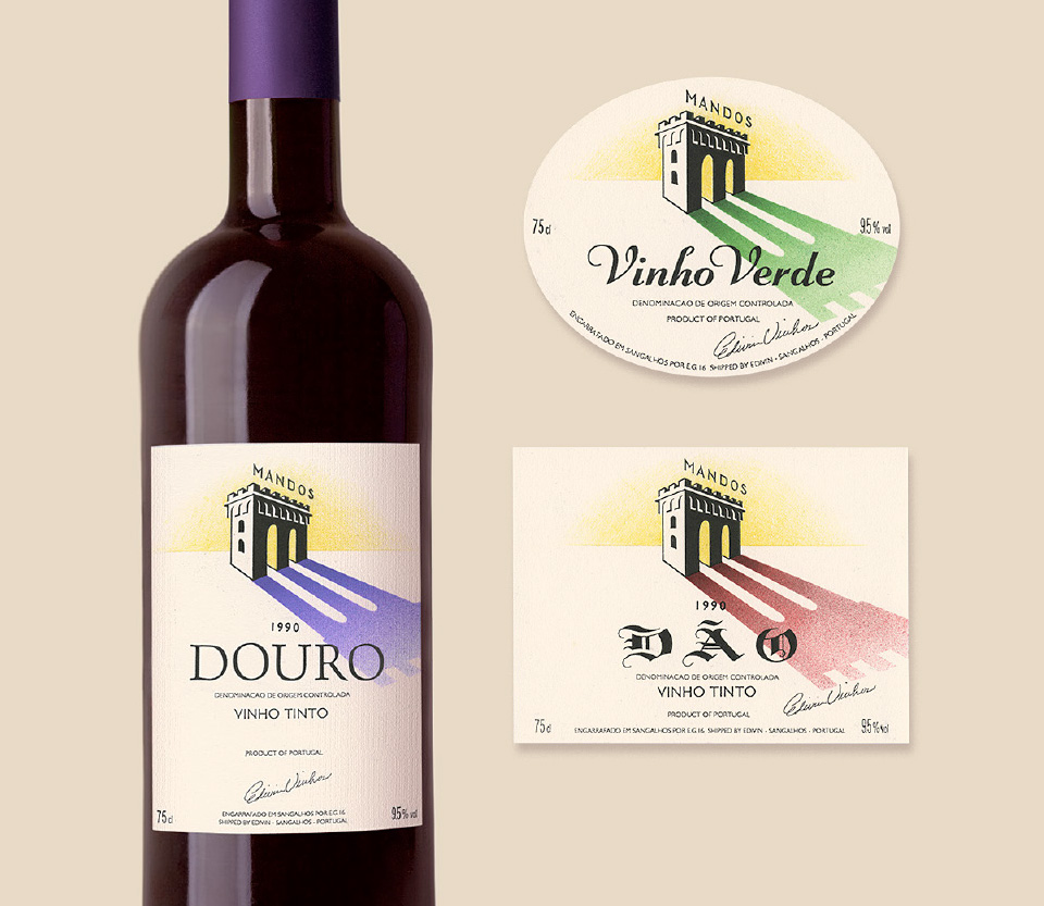Hand-crafted wine label design exploration for Mandos Portuguese Wines