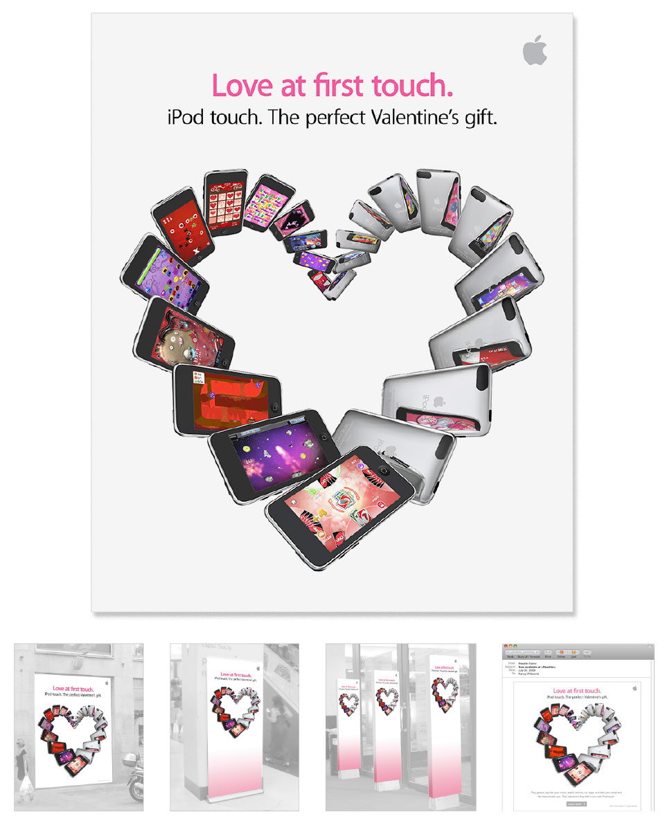 Art direction and design for a Valentine's Day promotion at Apple retail channel