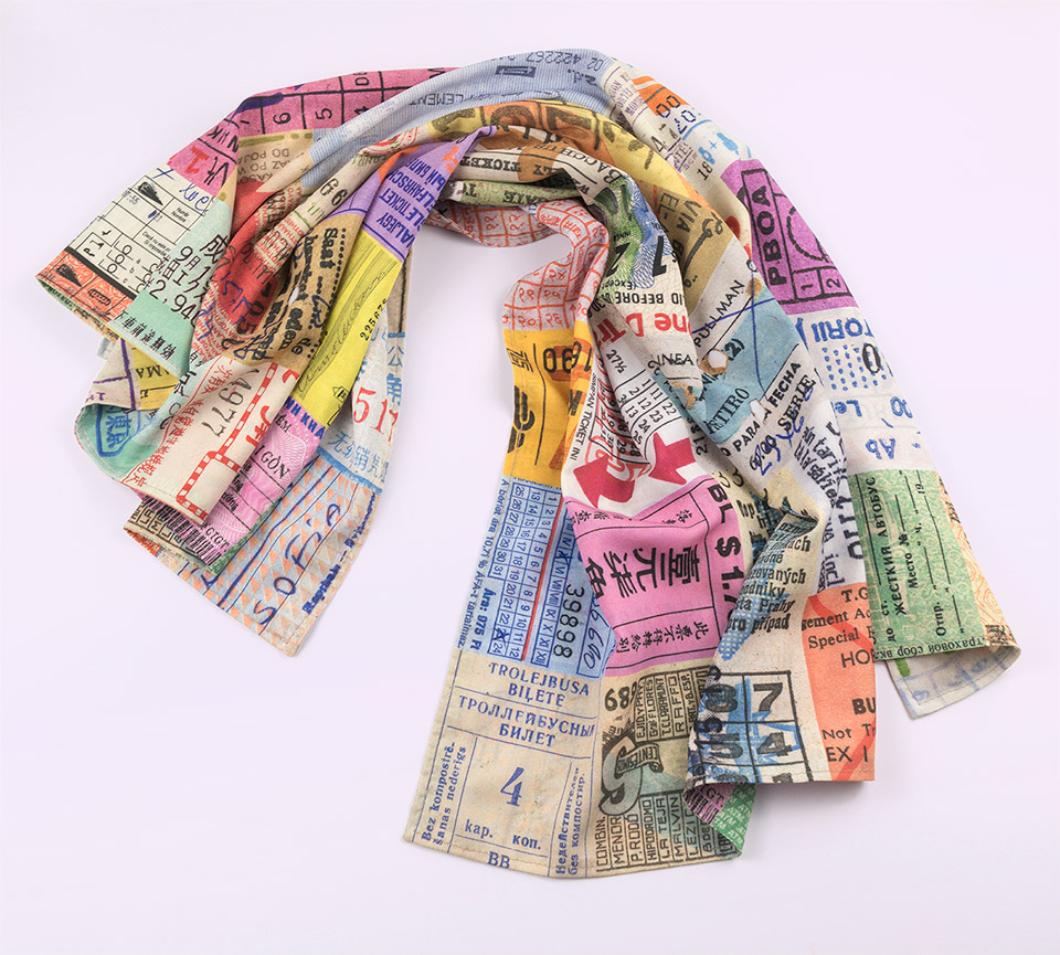 Tickets Scarf is composed of colorful graphic details of train, bus, and subway tickets collected during my over 25 years of traveling the world.