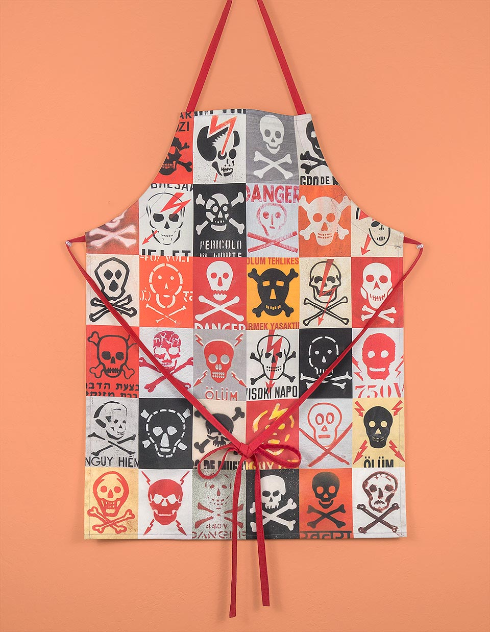 I'm a danger in the kitchen so I made myself an apron with photos of skull and crossbones signs from around the world.