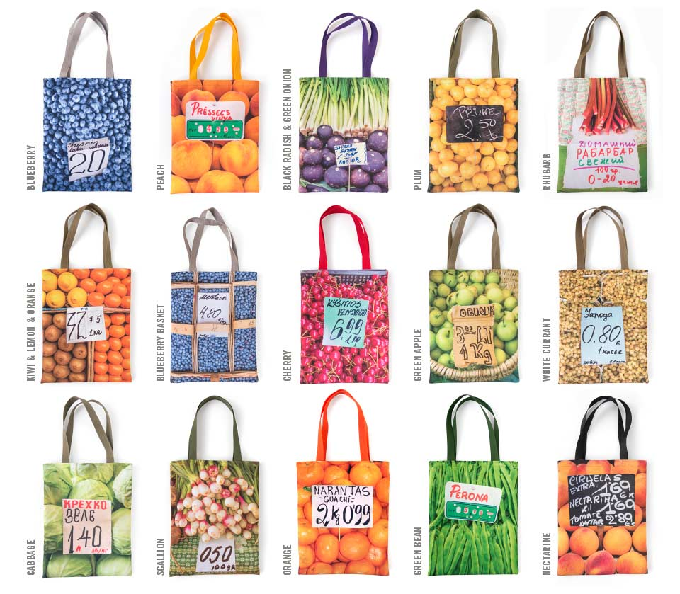 My Market Totes are adorned with photos of markets collected during my world travels and are printed on highly durable and colorfast eco canvas fabric.