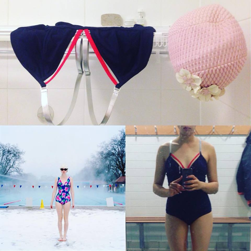 Top: Paco Rabanne's navy, tomato orange elastics neckline with silver straps vintage swimsuit resting quietly next to Annie the swim cap.  Bottom left: Credit to  East London Swimmers , very much inspired by winter swimmers.  Bottom right: Alone in London Fields Lido changing room, winter 16'.