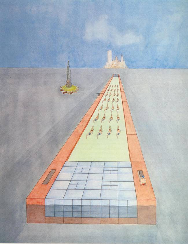 Floating Swimming Pool, Rem Koolhaas, 1978. Photograph: Rem Koolhaas/Madelon Vriesendorp