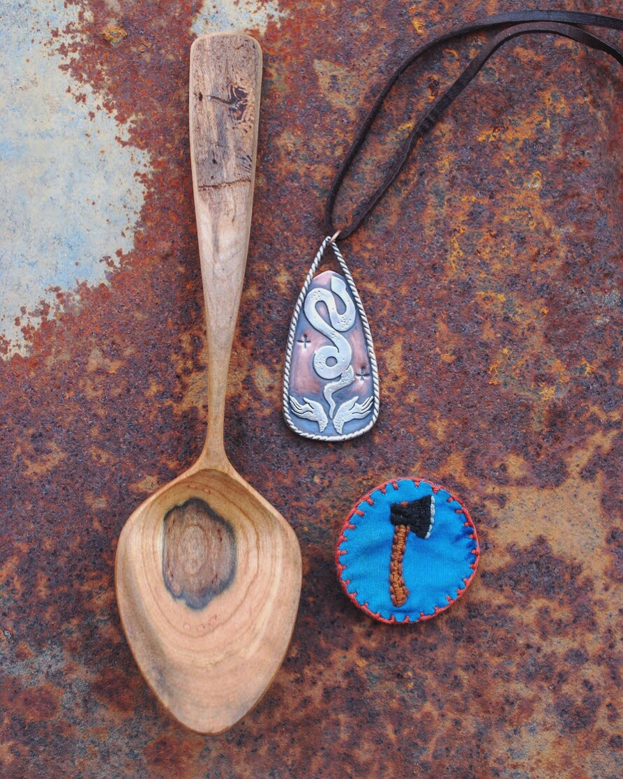 Spoon carving and metalsmithed jewelry