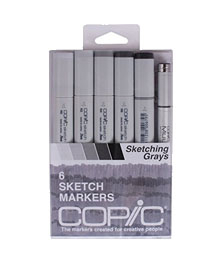 3B: Copic Sketch Set of 6 Markers - Sketching Grays - And I'd also get this gray. You can learn a lot about values and light & shadow and how to blend markers with this set. Skills and information that will be helpful when you start rendering with colors.