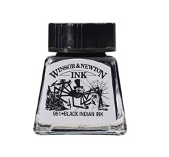 4A: Winsor & Newton Drawing Ink Bottle, 14ml, Black Indian - Works great for inking with a brush or nib.