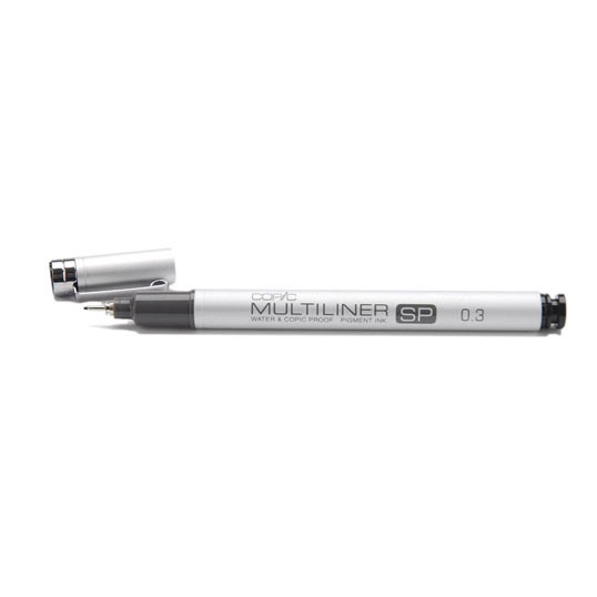 1A: Copic Multiliner - A great pen to learn inking on. I have the 0.1, 0.3, and 0.5 and they all work great. These are a little more expensive than your typical disposable technical pen, but I like the tips better, and like the fact that I can buy refills for them.