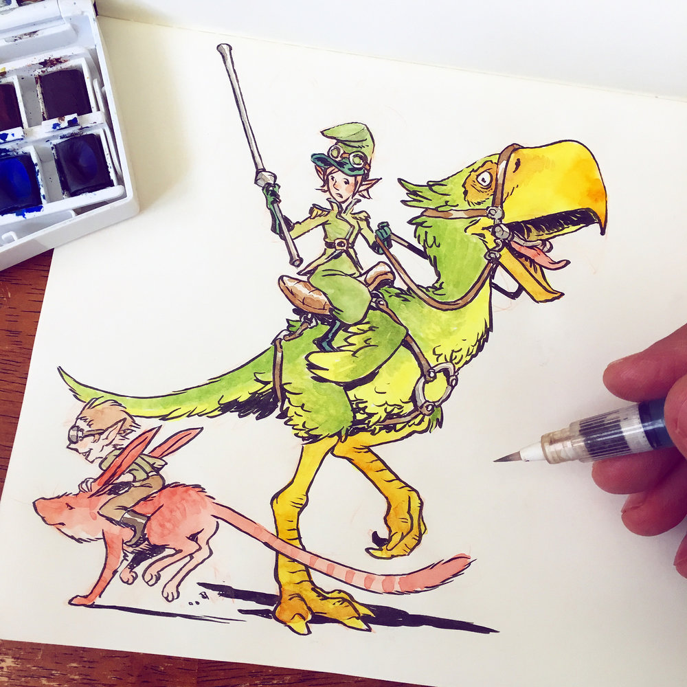 An Emerald City Street Guard is startled by a rascal riding a kangaroo-rabbit. I colored this with my Winsor Newton watercolor set which I love.