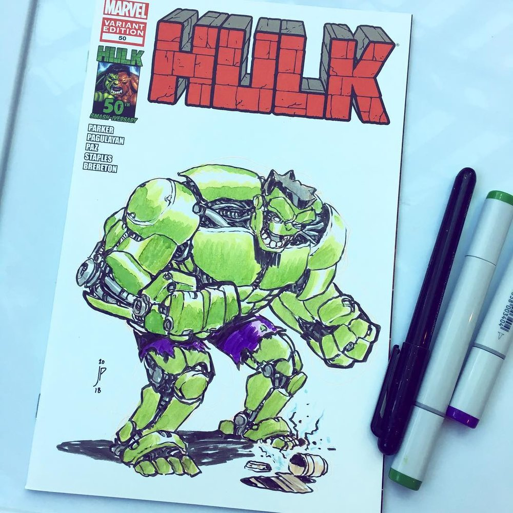 Mech-Hulk dropped his coffee