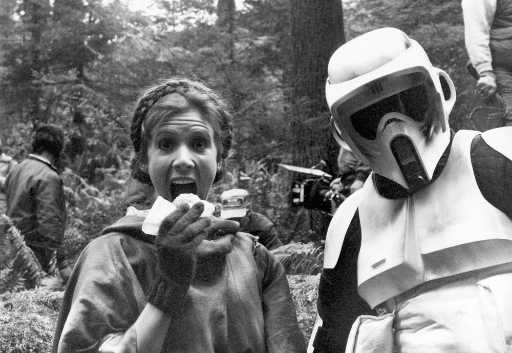 "CANDID SHOTS FROM ""RETURN OF THE JEDI"" IN THE REDWOOD FOREST"