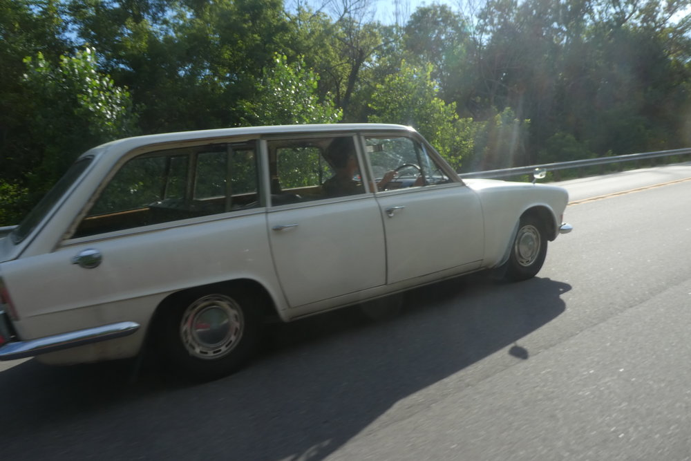 Being shamelessly passed by a Triumph 2000 on Breakfast Run.
