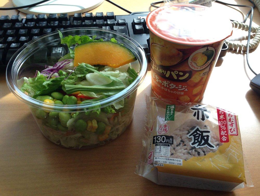 Konbini desk lunch in Tokyo, Japan.