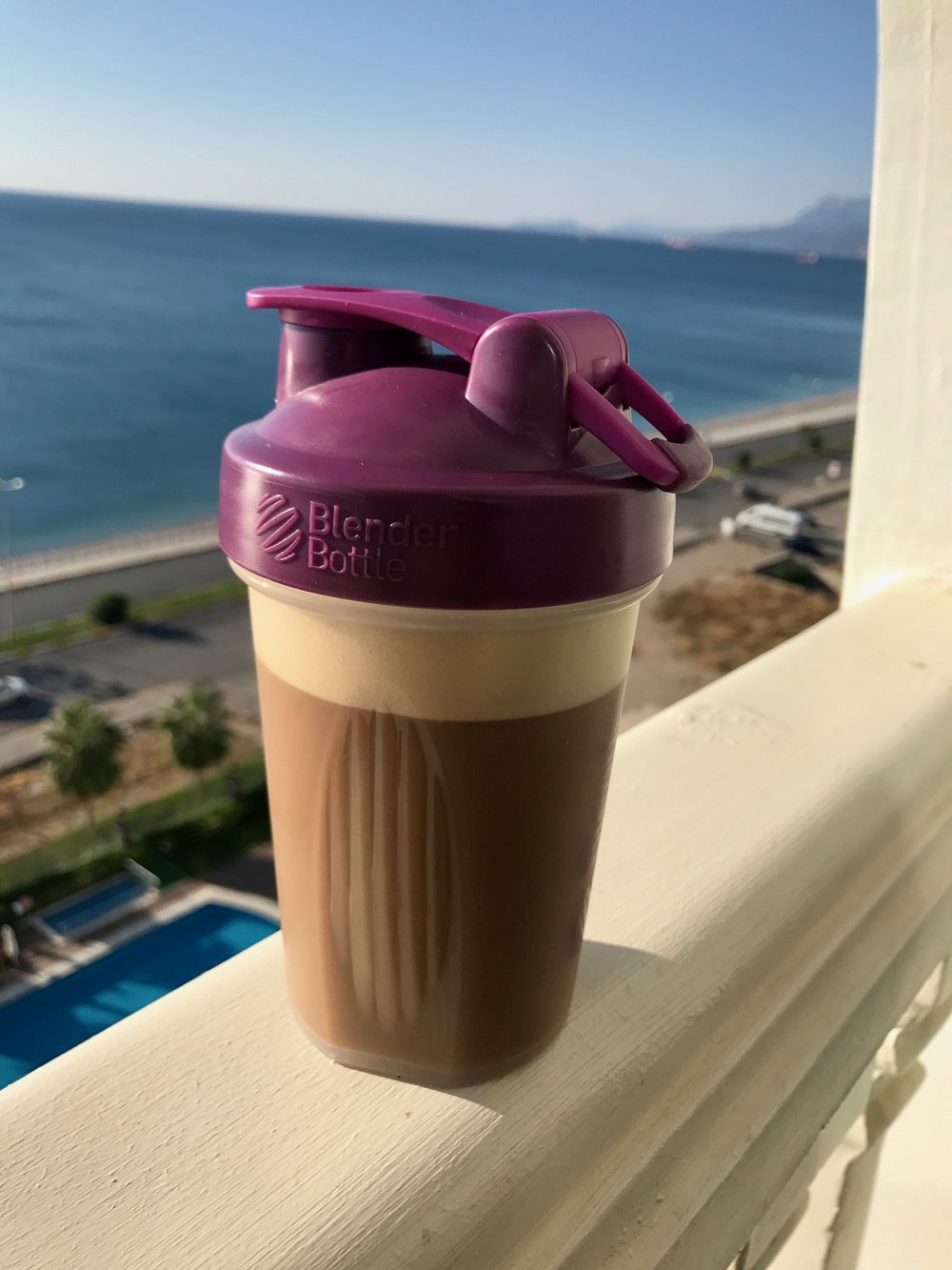 My Blender Bottle posing with a vanilla-coffee shake in Antalya, Turkey.