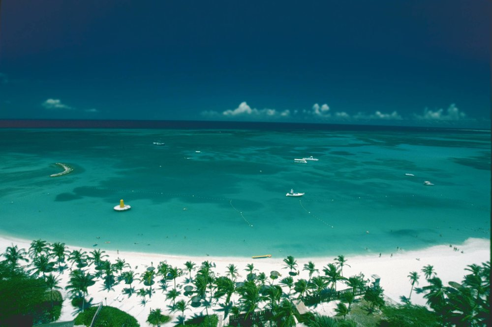 An aerial view of the crystal clear water on Palm Beach
