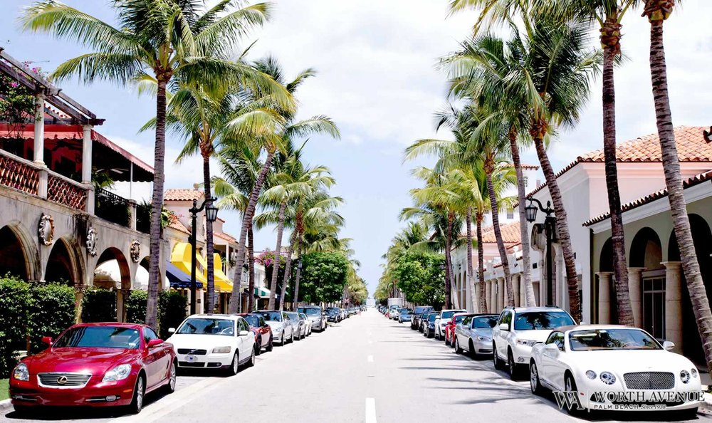 Shopping along palm tree-lined Worth Avenue