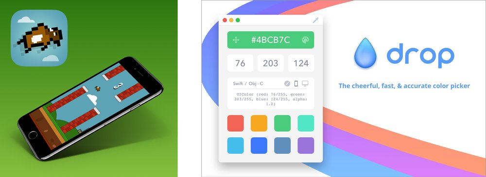 Buffalo Wings: Much-better-than-Flappy-Bird game / Drop: Mac color picker for developers