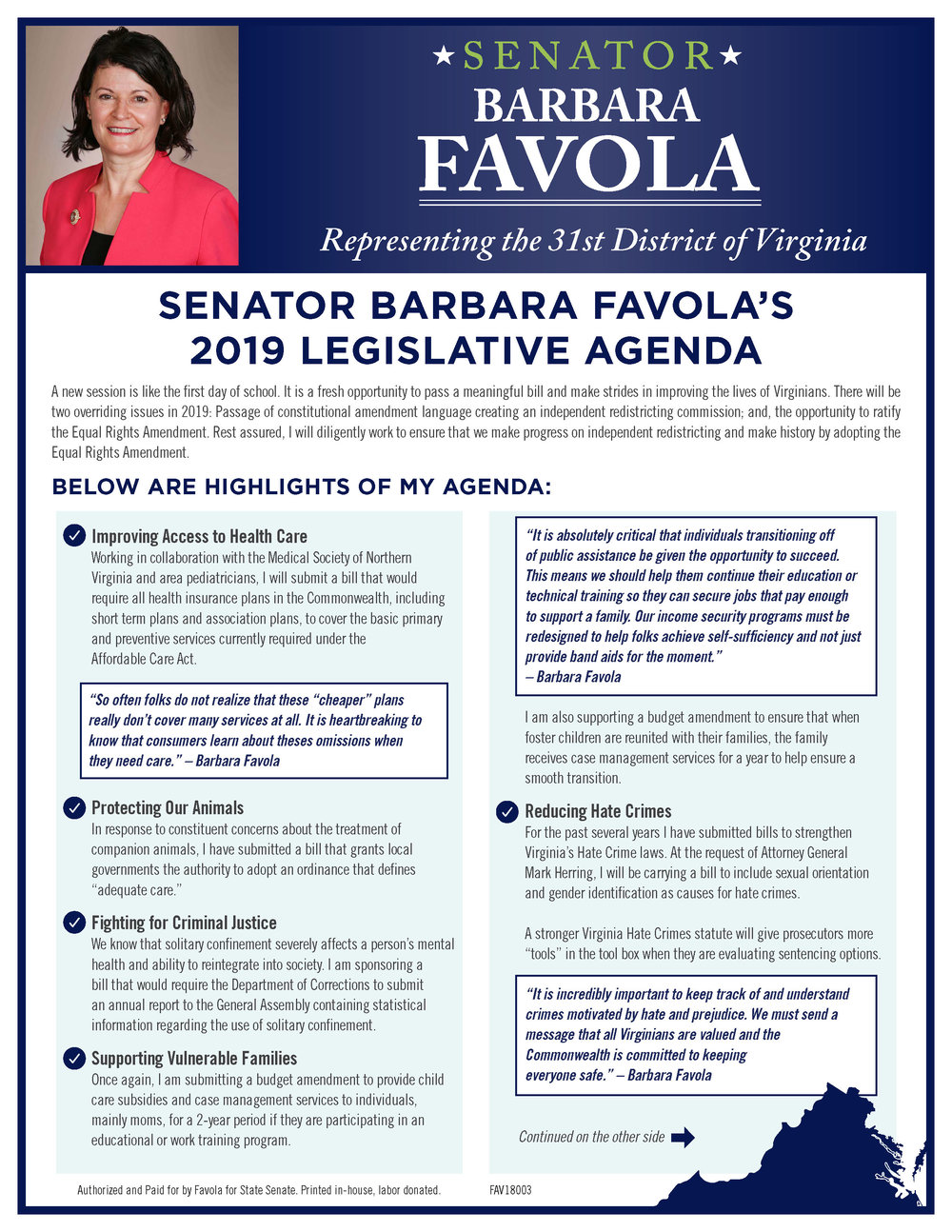 Senator Barbara Favola 2019 Legislative Agenda