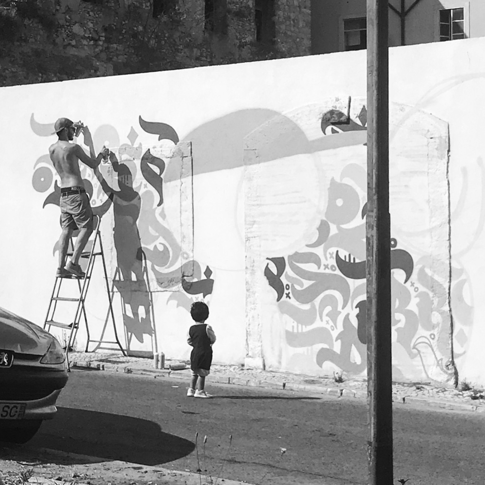 Binomial   Workin' on Binomial mural  2018  © Dark