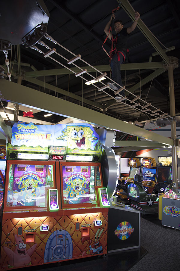 Our 20-foot ropes course spans over all 40 of our arcade games.
