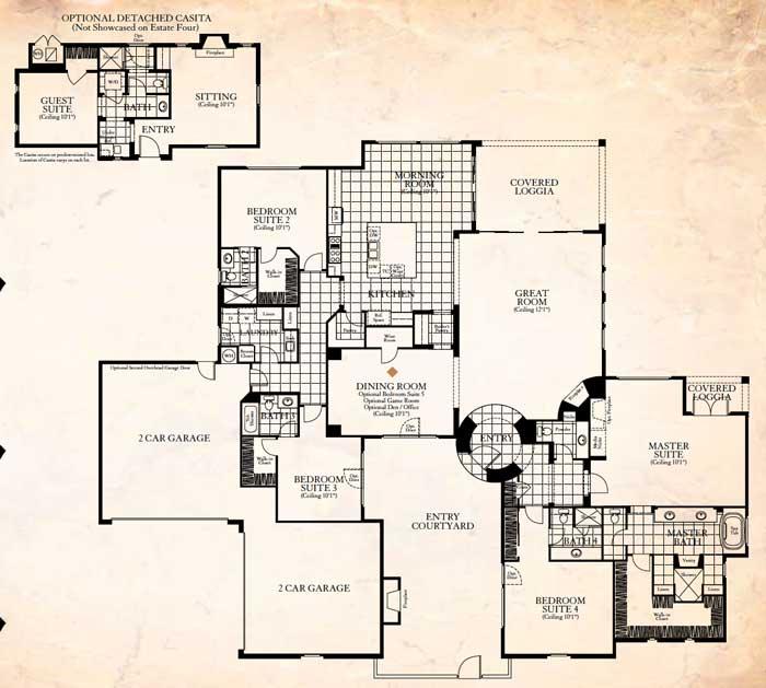 Stonefield Estates Indio California Santa Barbara Plan-4 Floor Plan