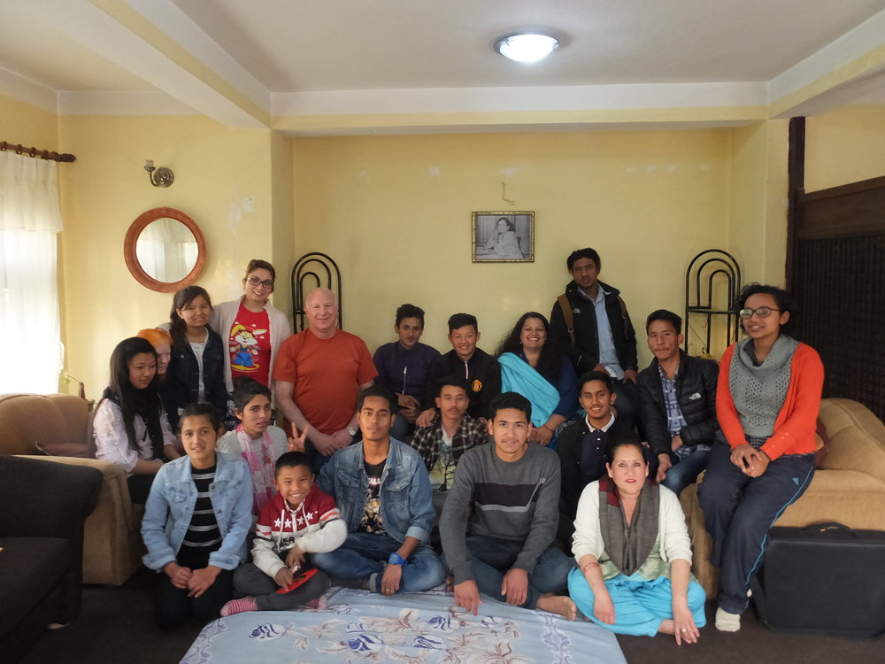 Some of our children visiting our NGO office and meeting board member Rick Hendin.