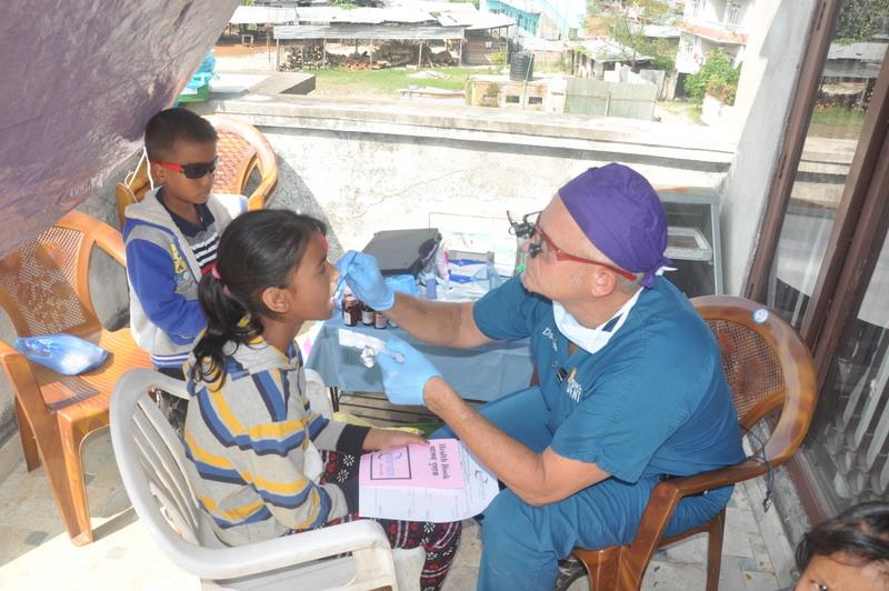 Children getting dental care.