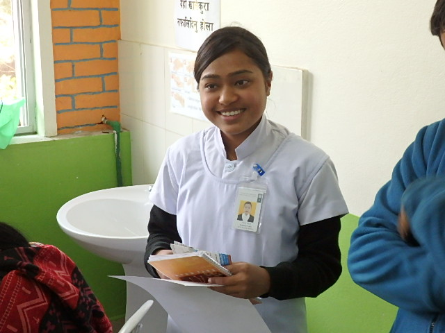 Rabina working with patients at Dhulekhel Hospital and getting her nursing degree.