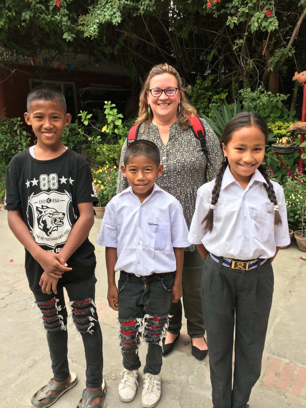 Sponsor Jacque Richmond meets her three sponsored children for the first time in Nepal!